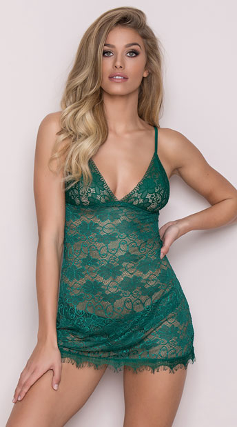 Green With Envy Chemise Set, Green Lace Chemise and Panty Set - Yandy.com
