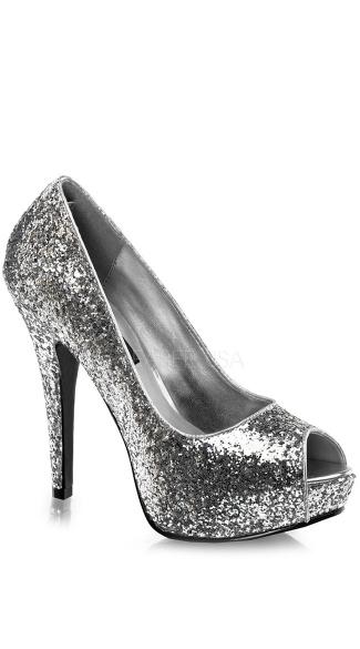 Glitter Peep Toe Pumps - Silver Glitter