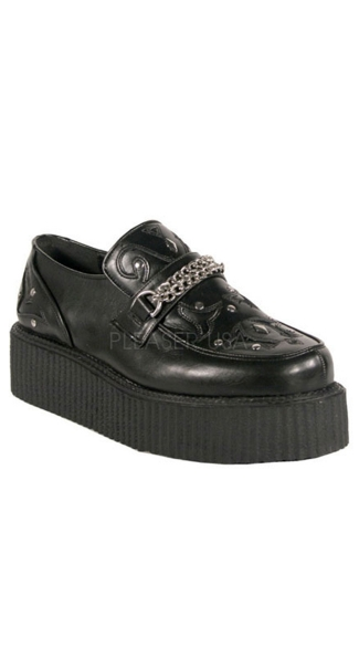 2 Inch Platform Black Chained Veggie Creeper Shoe