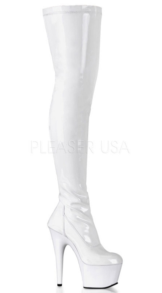 7 Inch Stretch Thigh High Platform Boot - Stretch White Patent