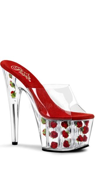 7 Inch Stiletto Heel Flower Filled Pf Slide - Clear/Red Flowers