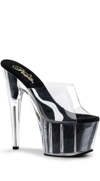 7 Inch Stiletto Heel Glitter Filled Platform Slide - Clear/Black Glitter