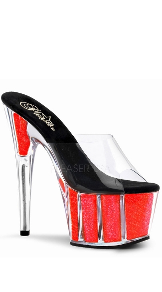 "Neon Glitter Filled Platform Slide, 7"" Stiletto Heel Neon Glitter Filled Platform Slide - Yandy.com"