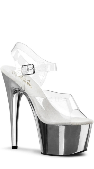 7 Inch Ankle Strap Clear Shoe - Clear/Silver Chrome