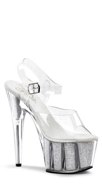 7 Inch Glitter Filled Ankle Strap Platform Sandal - Clear/Silver Glitter