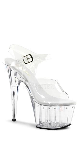 7 Inch Heel Platform Ankle Strap Sandal - Clear