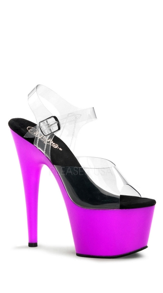 7 Inch Neon Bottom Sandals With Ankle Straps - Clear/Neon Purple