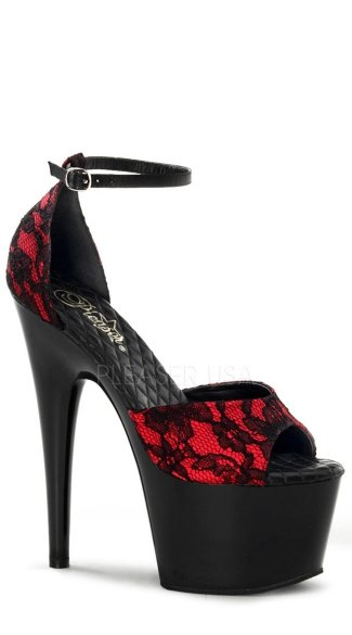 7 Inch Adore D'Orsay Sandal - Red Satin-black Lace/Black