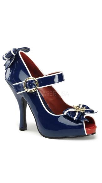 Blue Patent Sailor Shoes - Blue-white Pat