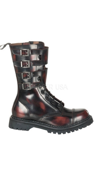 10 Eyelette Blk Leather S/t Calf Boot W/4 Buckles