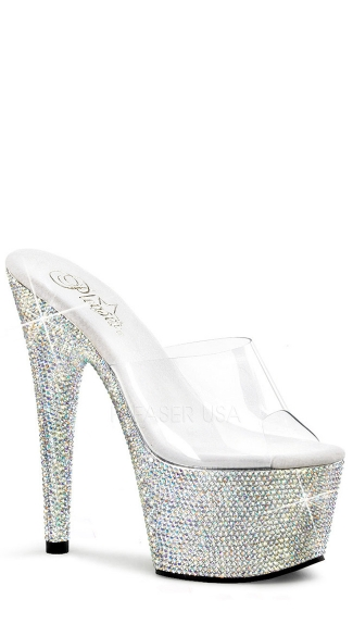 7 Inch Bejeweled Platform Slide - as shown