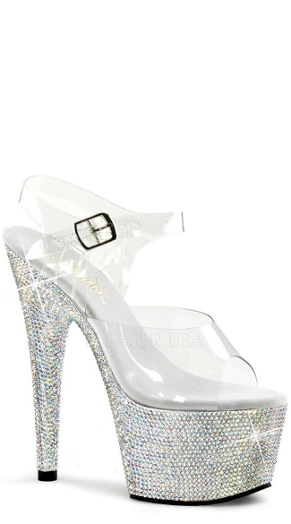 Rhinestone Studded Platforms with Ankle Strap and 7 Inch Heel, Tall Rhinestone Platforms