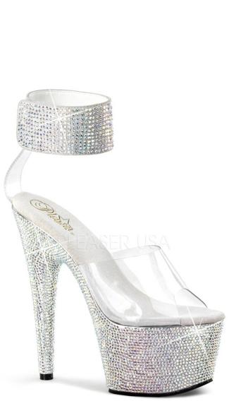 7 Inch Bejeweled Platform Sandal - Clear/Silver Multi RS