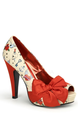 Patterned Open Toe Pump With Large Satin Bow - Cream Pu-red Satin (tattoo Print)