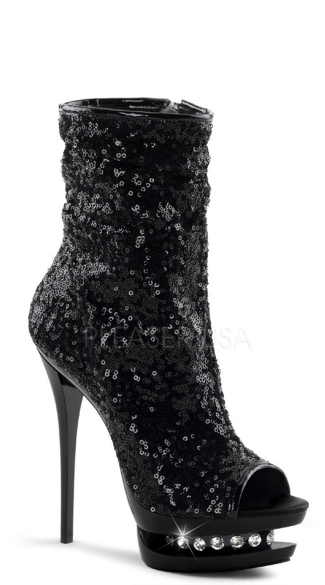 6 Inch Sequined Open Toe Ankle Boot - Black Sequins/Black