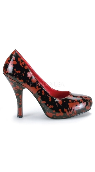 Blood Splatter Zombie Pump - Black Pat-red