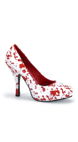 Blood Splatter Zombie Pump - White Pat-red