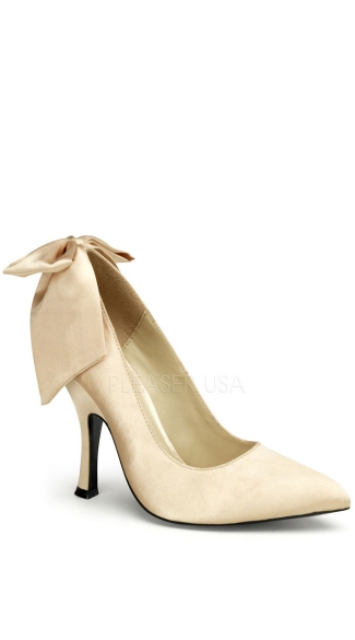 4 1/2 Inch Heel Pump With Large Satin Bow At Back - Champaign Satin