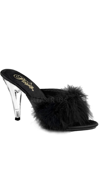 4 Inch Heel Fur Sandal - Black Satin-Fur/Clear