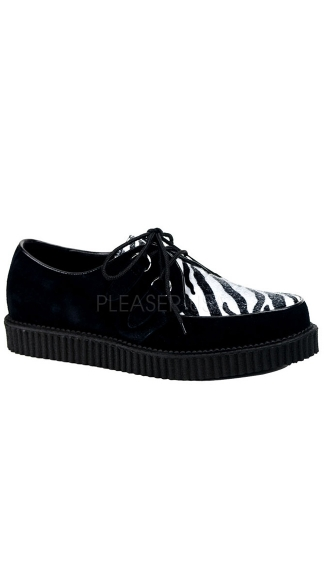 1 Inch Platform Men\'s Rockabilly Punk Black Suede Cheetah Fur Creeper