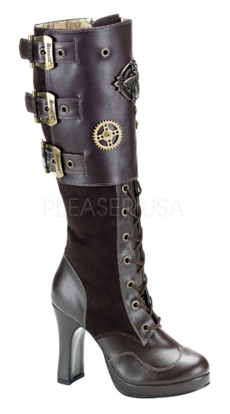 Steampunk Boots with Brass Details, Steampunk Shoes, Black Steampunk Boots