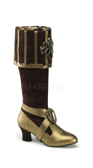 3 3/4 Inch Heel, Cuffed Knee Boot W/ Octopus Buckles - Brown Velvet-bronze Pu