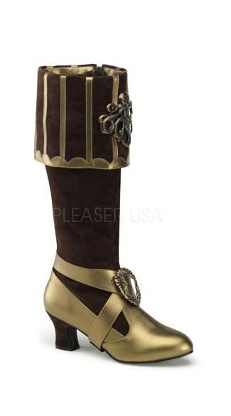3 3/4 Inch Heel, Cuffed Knee Boot W/ Octopus Buckles - Brown Velvet-bronze Pu