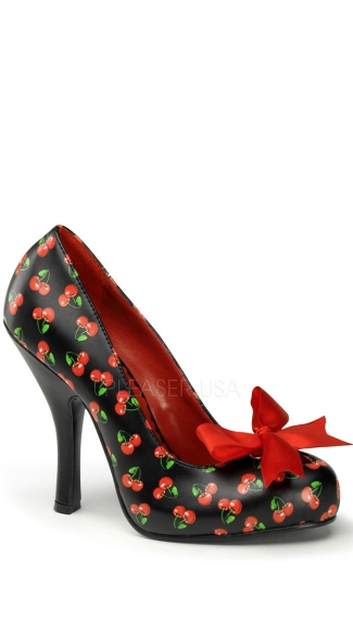 Patterned Pump with Red Satin Bow - Black-red Pu (cherries Print)