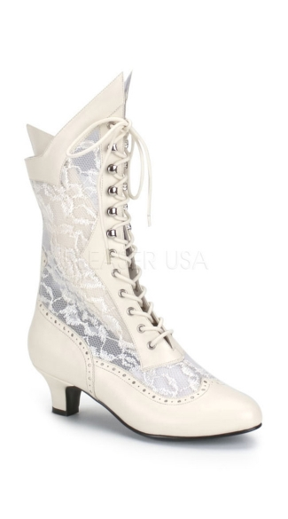 Lace Victorian Ankle Boot - Ivory Pu-lace