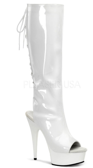 Lace-Up Patent Knee High Boots - Stretch White Patent