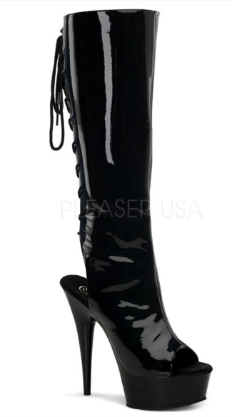 Delight Peep Toe Knee High Boot - Black Patent