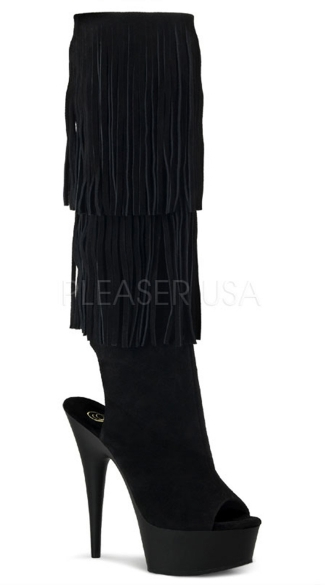 6 Inch Heel, 1 3/4 Inch Pf Open Toe/back Fringed Knee Boot - Black Suded/Black Matte