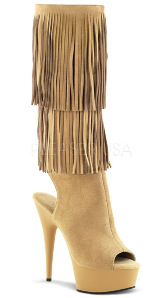 6 Inch Heel, 1 3/4 Inch Pf Open Toe/back Fringed Knee Boot - Tab Suede/Tan Matte