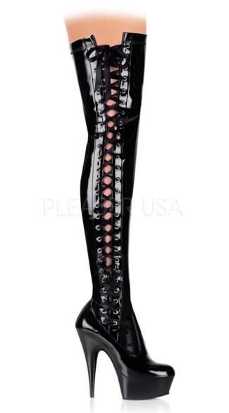 "6 Inch Side Laced Platform Thigh Boot, 6"" Side Laced Platform Thigh Boot Side Zip - Yandy.com"