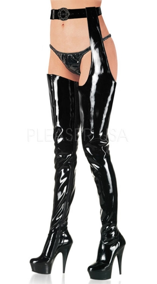 6 Inch Stiletto Heel Stretch Platform Chap Boot - Black Str Pat/Black