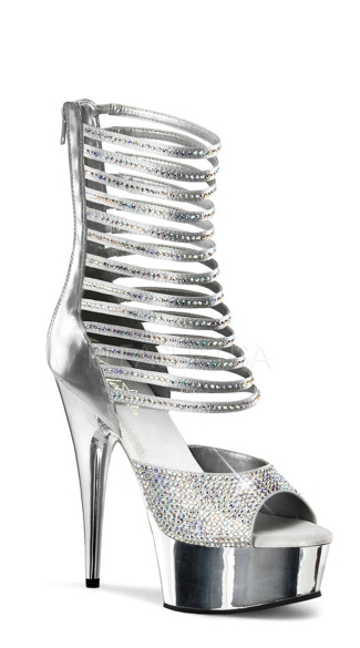 6 Inch Shimmering Ankle High Sandal - Silver Pu-Satin/ Silver Chrome