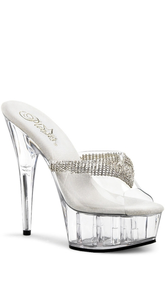 6 Inch Heel, 1 3/4 Inch Platform Slide With Rhinestone Ornament - Clear/ Clear