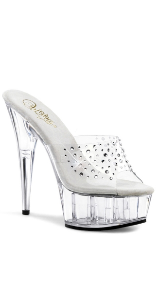 6 Inch Platform Slide With Rhinestone Accents - Clear