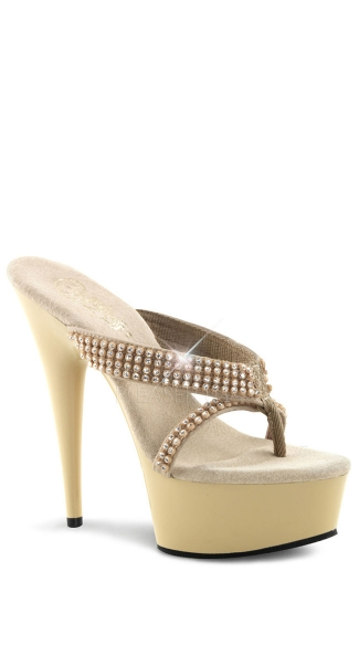 6 Inch Heel Platform Thong W/ Rhinestones - Cream Nubuck/Cream