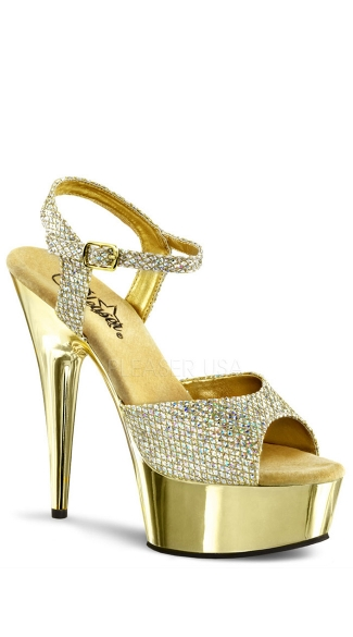 6 Inch Heel Chrome Platform Sandal - Gold Multi Glitter/Gold Chrome