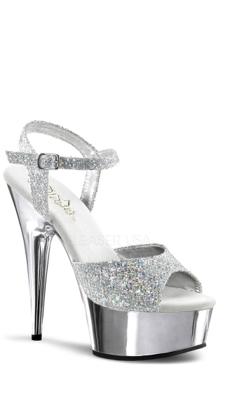 6 Inch Heel Chrome Platform Sandal - Silver Multi Glitter/Silver Chrome