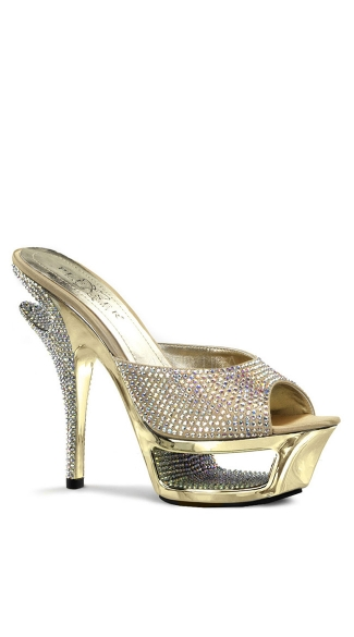 5 1/2 Inch Heel, 1 3/4 Inch Cut-out Pf Slide - Gold Satin