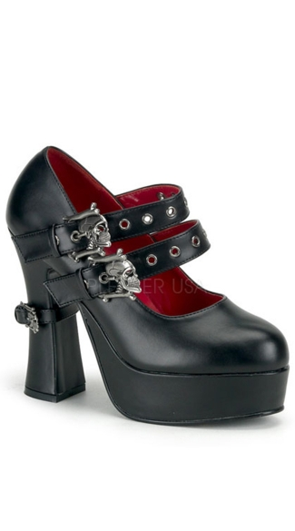 "5"" Concealed P/f Goth Lolita Mj W/ Double Skull Straps"