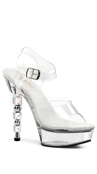 "5 1/2"" Rs Embellished Stacked Dice Heel, 1 1/2\"" Pf Sandal"