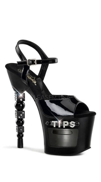 "7 Inch Stacked Dice Heel Sandal, 7"" Rs Embellished Stacked Dice Heel 3 1/4\"" Platform Sandal - Yandy.com"