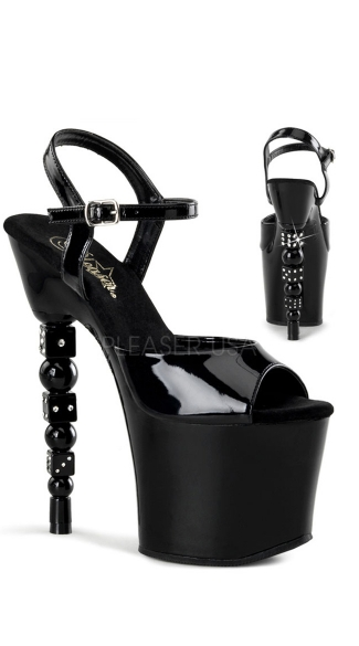 "7"" Rs Embellished Stacked Dice Heel, 3 1/4\"" Pf Sandal"