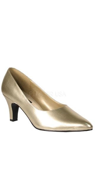 3 Inch Block Heel Classic Pump - Gold Pu