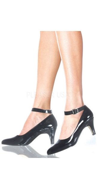 3 Inch Block Heel Ankle Strap Pump - as shown