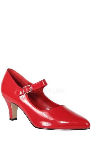 3 Inch Block Heel D'orsay Mary Jane Pump - Red Patent