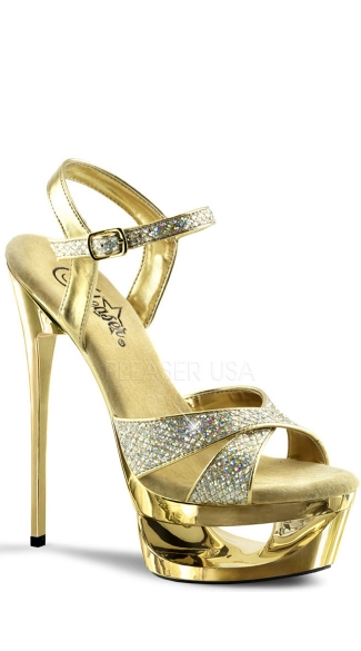 Platform Sparkle Sandals - Gold Multi Glitter/Gold Chrome